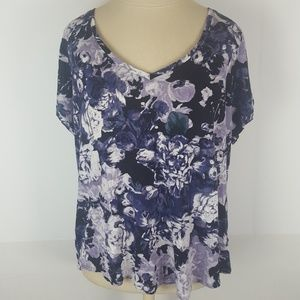 1X Simply Vera Vera Wang Purple Abstract T Shirt